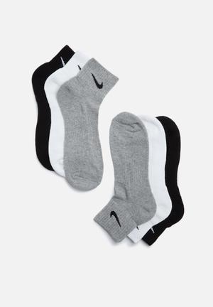 Nike Cushion 3 Pack Socks Grey, Black & White