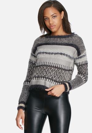 ONLY Bary Sweater Knitwear Grey & Black