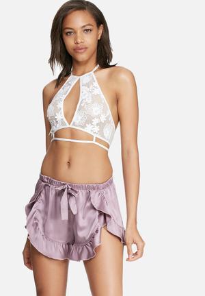 Glamorous Silky Sleep Shorts Sleepwear Lilac