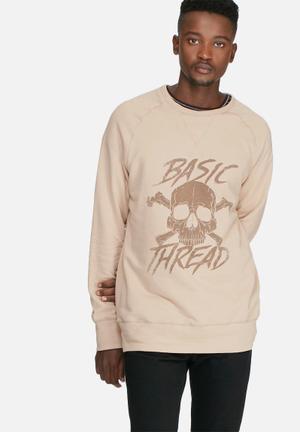 Basicthread Graphic Pullover Crew Sweat Stone & Brown