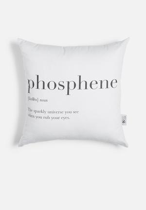Phosphene printed cushion