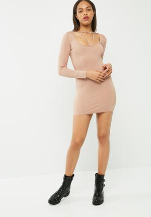 Harness detail bodycon dress