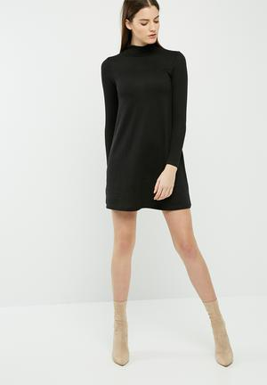 Cut & sew turtleneck swing dress