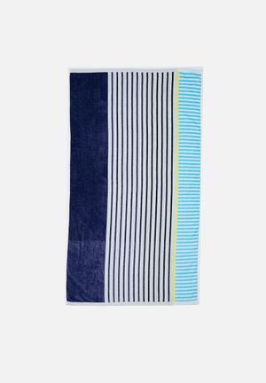 Nautical striped beach towel