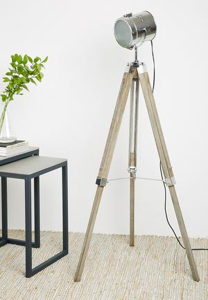 Sixth Floor Ryan Tripod Floor Lamp Lighting Wood & Metal