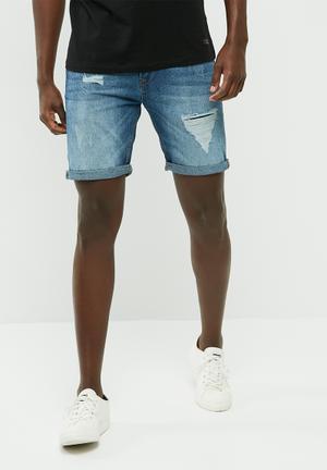 PRODUKT Slim Denim Shorts Blue