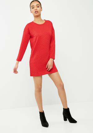 Jacqueline De Yong Fiona Dress Formal Red