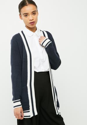 Jacqueline De Yong Reed Cardigan Knitwear Navy & White