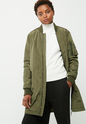Alina long bomber jacket