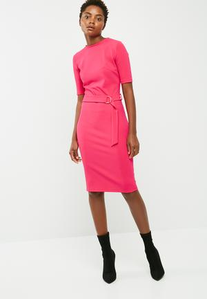 Dailyfriday Ballerina Sleeve Bodycon Dress With Self Fabric D-ring Belt Formal Pink