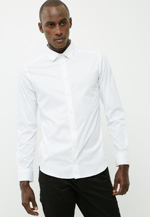 Basicthread Formal Slim Stretch Shirt White