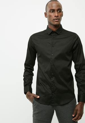 Basicthread Formal Slim Stretch Shirt Black