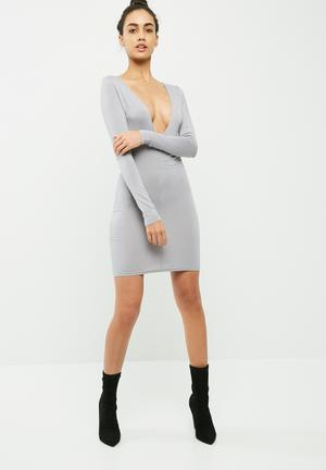Missguided Plunge Long Sleeve Bodycon Dress Occasion Grey