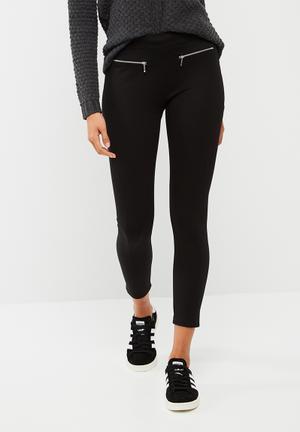 Dailyfriday Zip Detail Treggings Trousers Black