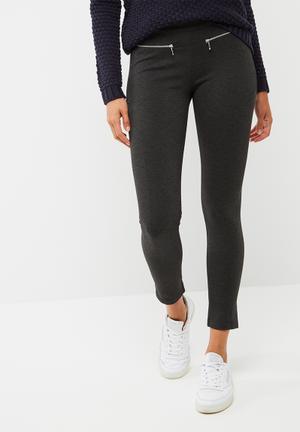 Dailyfriday Zip Detail Treggings Trousers Dark Grey Melange