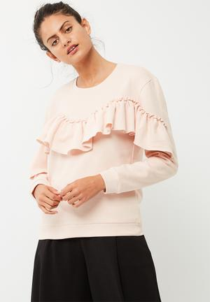 ONLY Dream Frill Sweat T-Shirts, Vests & Camis Pale Pink