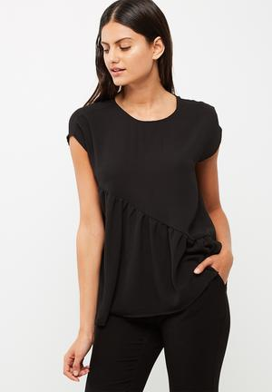 Jacqueline De Yong Chrissy Frill Top Blouses Black
