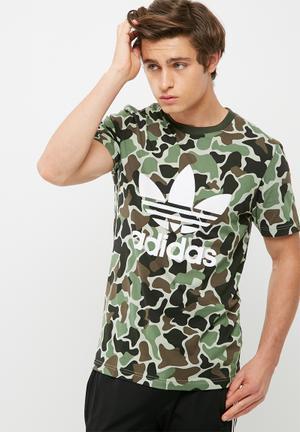 Adidas Originals Camo Trefoil Tee T-Shirts Green Camo