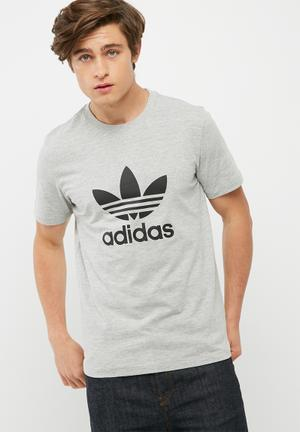 Adidas Originals Mens Originals Trefoil Tee T-Shirts Grey Melange