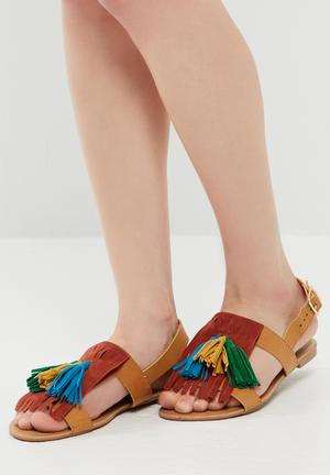 Dailyfriday Tassel And Fringe Sandal Tan, Burgundy, Green & Blue