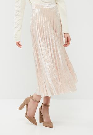 Dailyfriday Velvet Pleated Midi Skirt Pale Pink