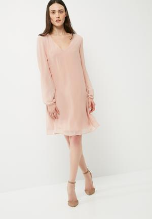 Dailyfriday V-neck Chiffon Dress With Back Tie Formal Dusty Pink