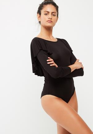 Dailyfriday Back Ruffle Bodysuit With Long Sleeves T-Shirts, Vests & Camis Black