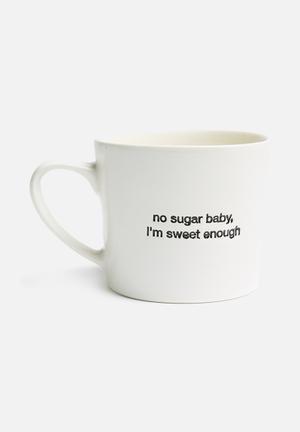 No sugar baby stamped mug