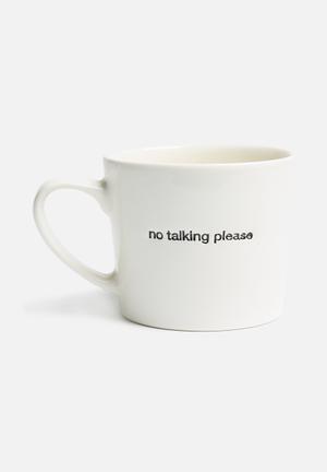 No talking please stamped mug