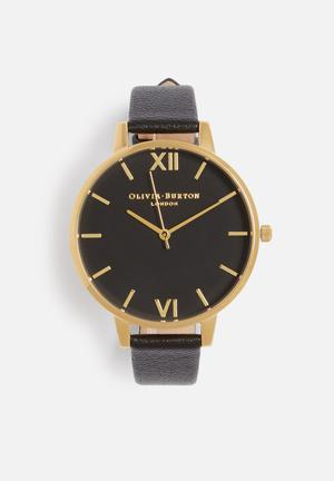 Olivia Burton Big Dial Watches Black & Gold