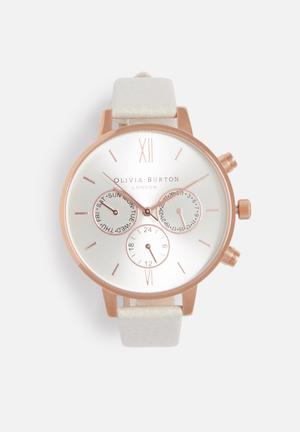 Olivia Burton Big Dial Chrono Detail Watches Rose Gold & White
