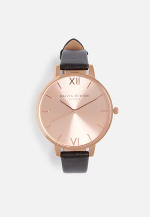 Olivia Burton Big Dial Watches Black & Rose Gold