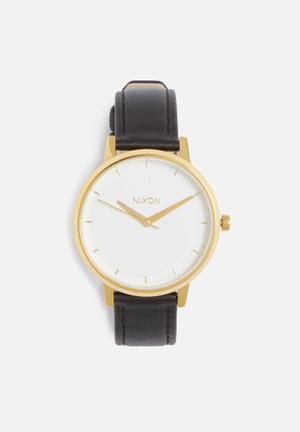 Nixon Kensington Leather Watches Gold / White / Black
