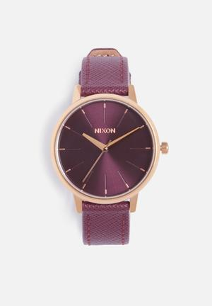 Nixon Kensington Leather Watches Rose Gold / Bordeaux
