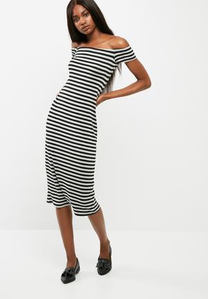 Viscose knit off the shoulder midi dress