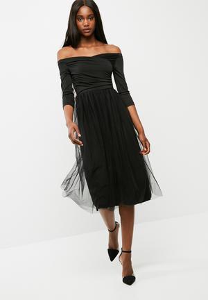 Dailyfriday Off Shoulder Wrap Bodice Midi Dress Occasion Black