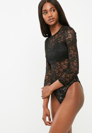 Dailyfriday Lace And Knit Bodysuit T-Shirts, Vests & Camis Black