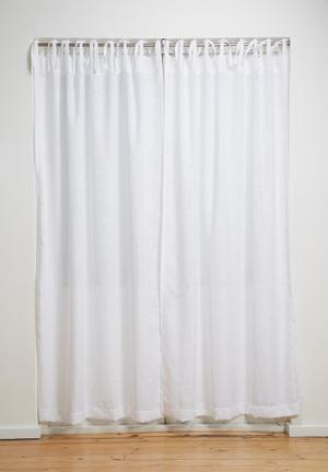 Sixth Floor Tie Top Curtain Unlined White