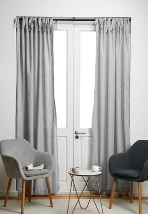 Tie top curtain unlined