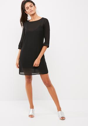 Dailyfriday Chiffon Shift Dress With Viscose Knit Slip Formal Black