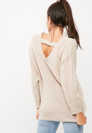 Dailyfriday Scooped Back Knit Knitwear Beige