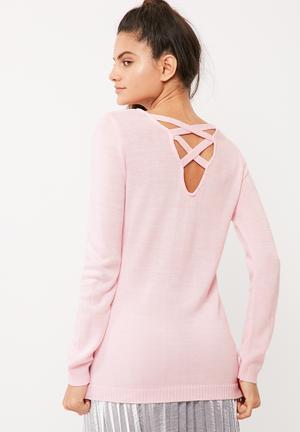 Cross back slouchy knit