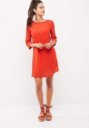 Dailyfriday Chiffon Shift Dress With Viscose Knit Slip Formal Red