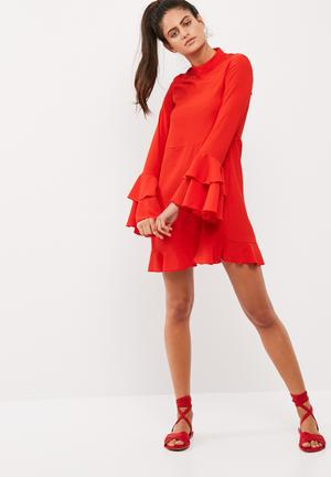 High neck frill sleeve crepe dress