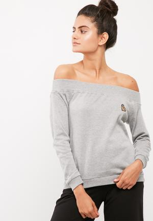 Christian patch off shoulder sweat