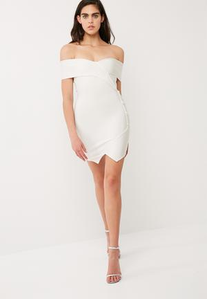Missguided Bardot Button Detail Bandage Dress Occasion Off White