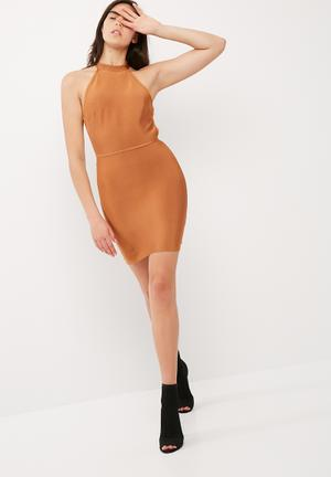 High neck bandage cross back dress