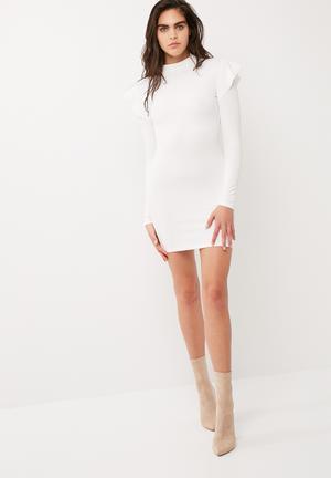 Scuba high neck frill shoulder bodycon dress