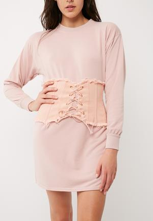 Missguided Frayed Denim Corset Belt Pink