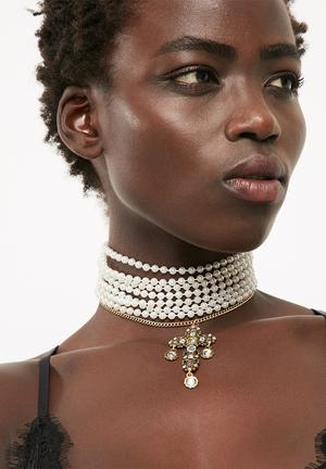 Layered pearl multi band choker necklace